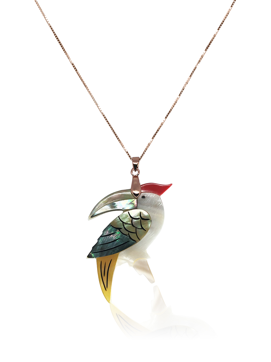 OYSTER BAY COLLECTION Toucan Dreams South Sea Mother-of-Pearl 18K Rose Gold Pendant