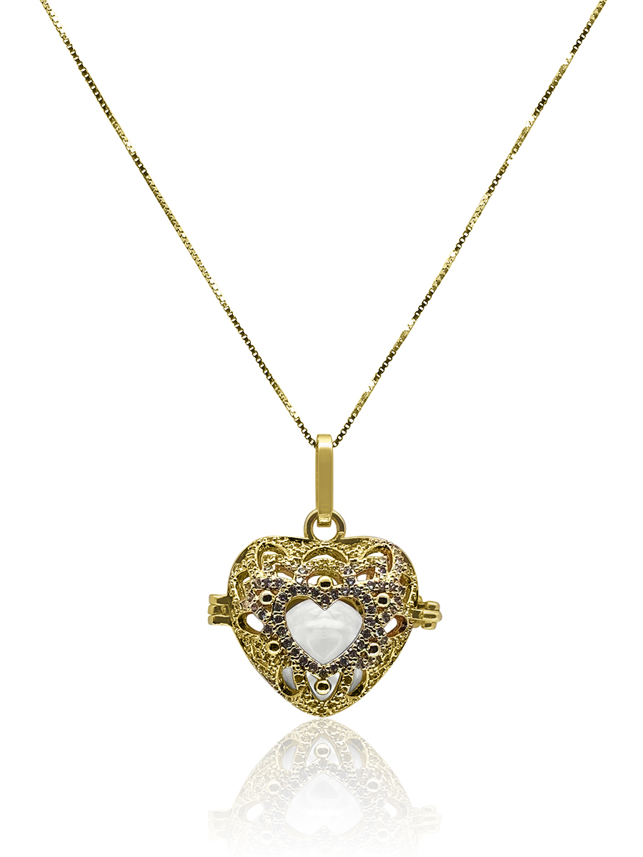 ROYAL FALLS COLLECTION En Mi Corazón 18K Yellow Gold Diamond Pavé Pearl Locket Pendant