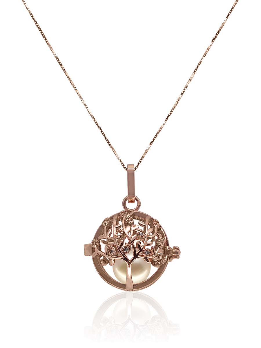 ROYAL FALLS COLLECTION Tree of Life Rose Gold Diamond Pavé Pearl Locket Pendant