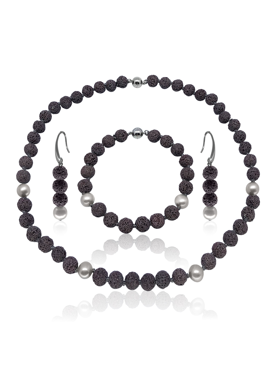GALÁPAGOS COLLECTION Ash Gray Volcanic Lava & Silver-Gray Pearl Necklace, Bracelet, & Earrings