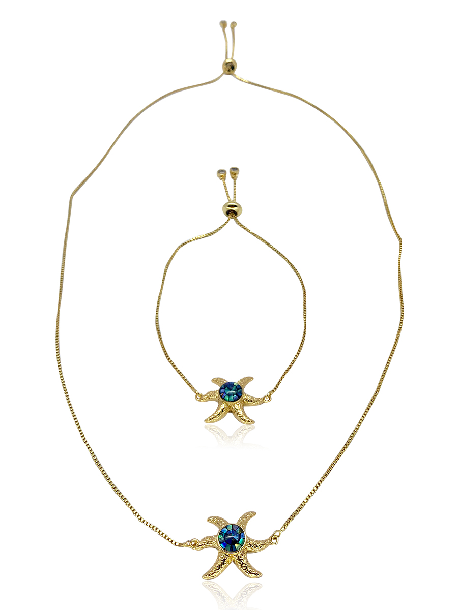 GALÁPAGOS COLLECTION Starfish 18K Yellow Gold Filled Sliding Pendant & Bracelet Set