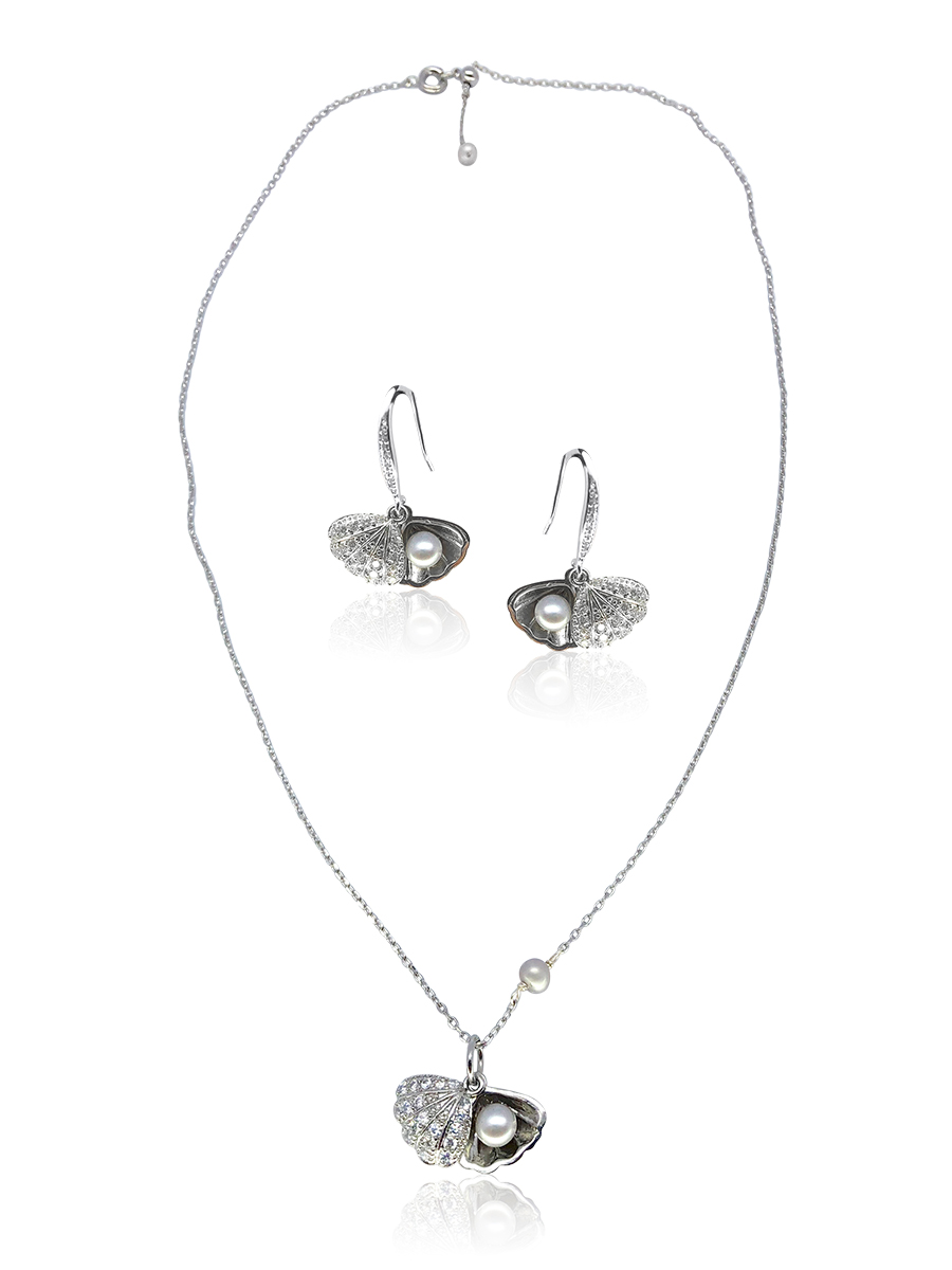 KIRIBATI COLLECTION The World Is Your Oyster 18K White Gold Pearl & Swarovski Set