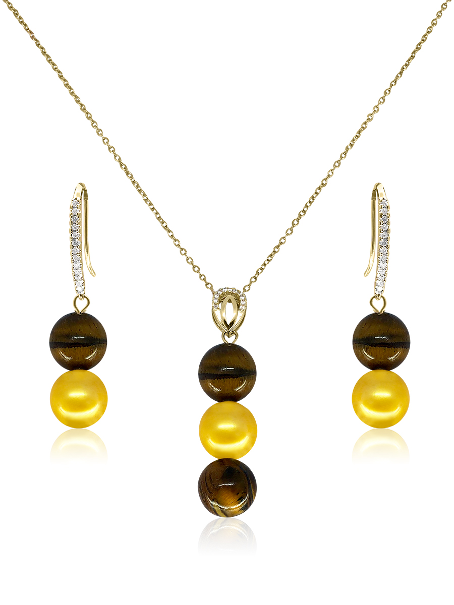 PACIFIC PEARLS TREASURE ISLAND COLLECTION South African Tiger's Eye & Gold Pearl Pendant & Earrings