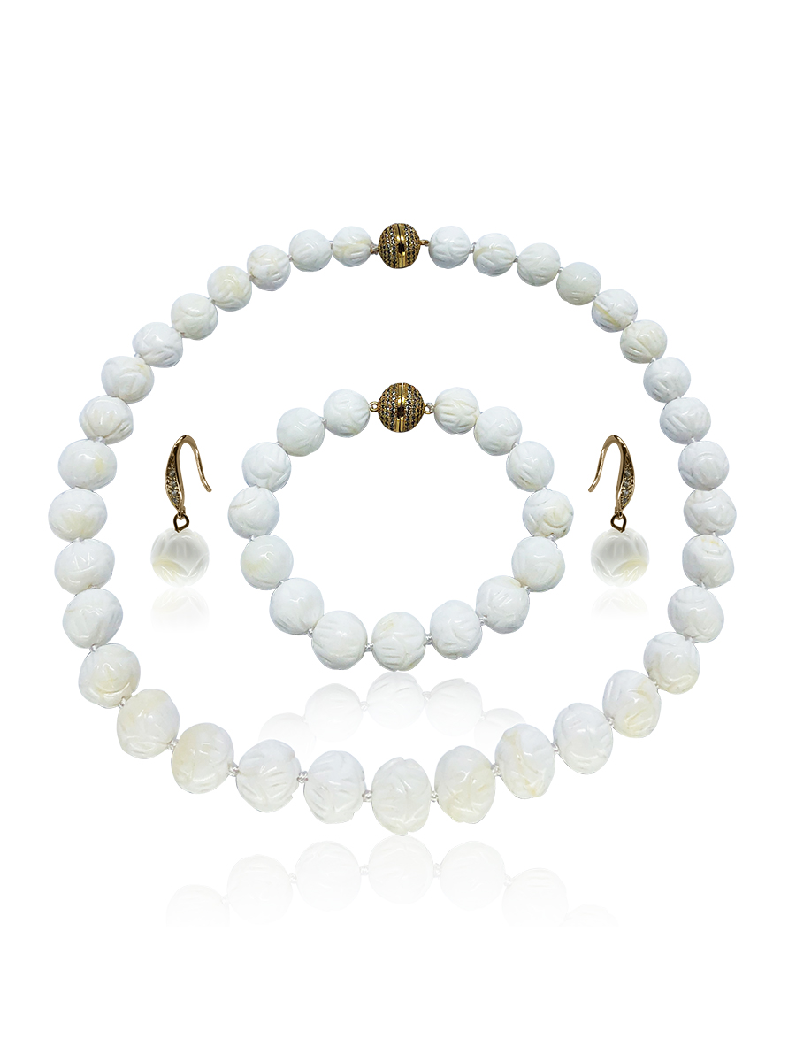 PACIFIC PEARLS WAIKIKI COLLECTION Hand-Carved Ivory 12-13mm Giant Clam Shell Pearl Necklace, Bracelet, & Earrings