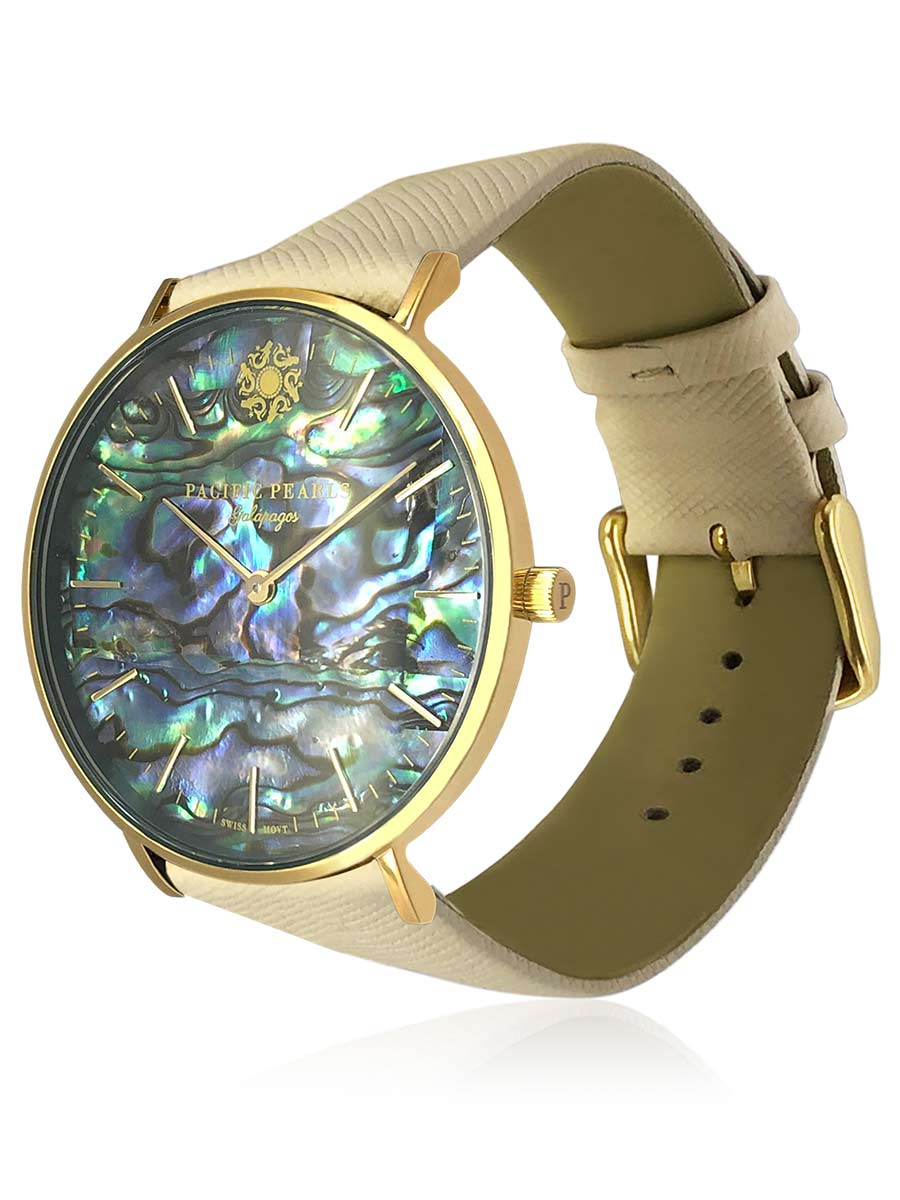 PACIFIC PEARLS GALÁPAGOS COLLECTION Swiss Watch with Saffiano Leather Strap
