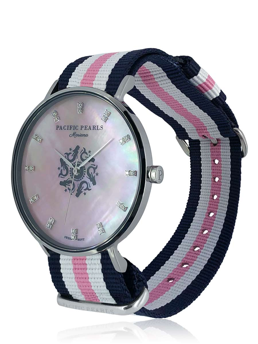 MARIA-THERESA REEF COLLECTION Mariana Diamond Encrusted Pink South Sea Mother-of-Pearl Watch with Pastel NATO Strap