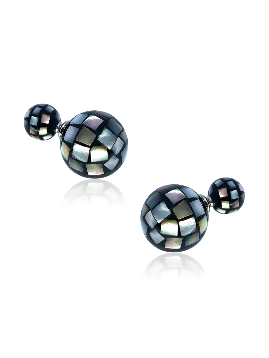 SOUTH SEA COLLECTION Black Faceted Mother-of-Pearl Reversible Stud Earrings