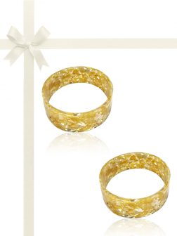 MERMAID BEACH COLLECTION Champagne Mother-of-Pearl Gift Set of Two Stackable Bangles
