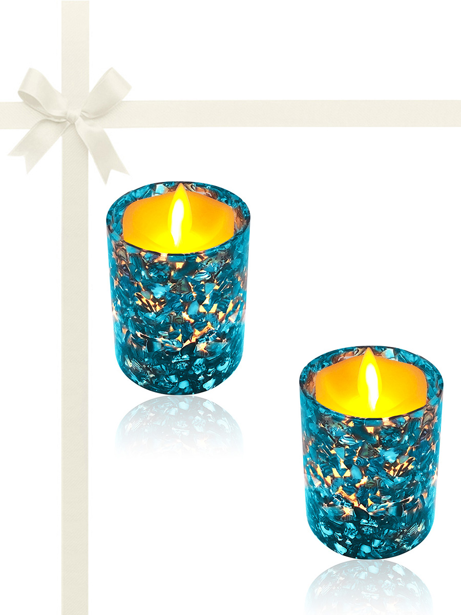 ROYAL FALLS COLLECTION Blue Abalone Gift Set of 2 Votive Holders with 150+ Hour Flameless Candles