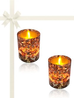 ROYAL FALLS COLLECTION South Sea Gift Set of 2 Votive Holders with 150+ Hour Flameless Candles