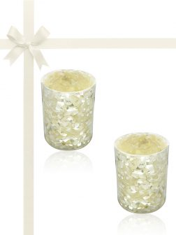 ROYAL FALLS COLLECTION Trochidae Gift Set of 2 Votive Holders with 150+ Hour Flameless Candles