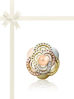 KIRIBATI COLLECTION Camellia Diamond Encrusted 18K Gold Pearl Brooch & Pendant Gift Set