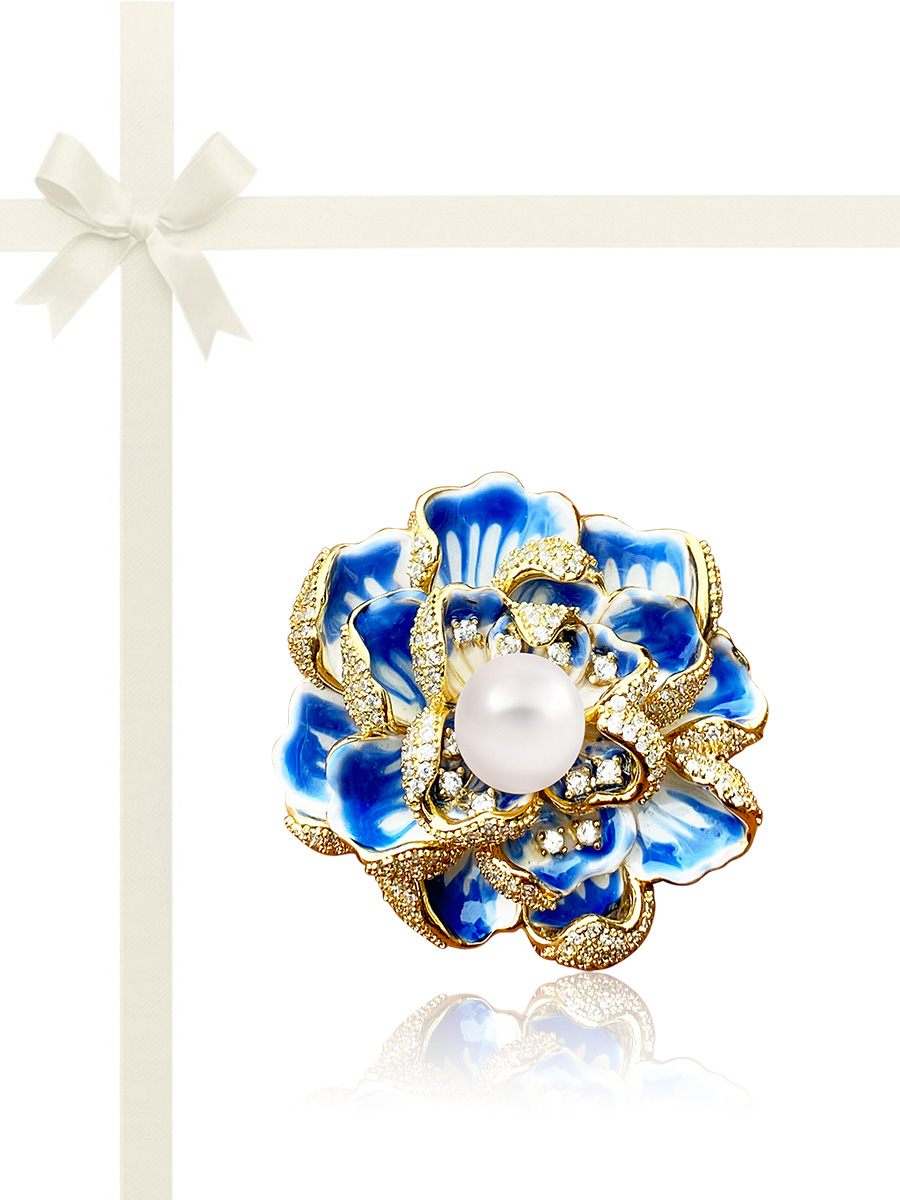 ROSE ATOLL COLLECTION Sapphire Rose Diamond Encrusted Pearl Brooch & Pendant Gift Set