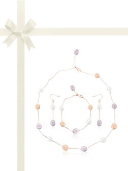 TERAINA COVE COLLECTION Pastel Pearl Station Necklace, Bracelet, & Earring Gift Set
