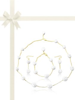 TERAINA COVE COLLECTION White Pearl Station Necklace, Bracelet, & Earring Gift Set