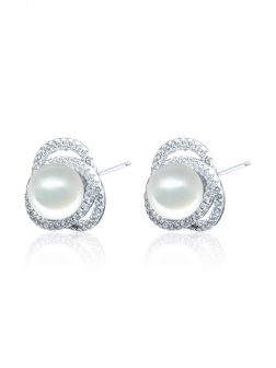 ROSE ATOLL COLLECTION Harmony Diamond Encrusted Pearl Earrings