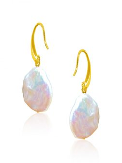 SUNSHINE COAST COLLECTION White Coin Pearl Earrings in 18K Yellow Gold