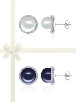ROSE ATOLL COLLECTION Evermore Diamond Encrusted White & Midnight Pearl Earring Gift Set