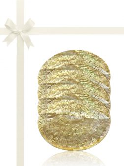 SOUTH SEA COLLECTION Champagne Mother-of-Pearl Gift Set of 4 Drinks Coasters
