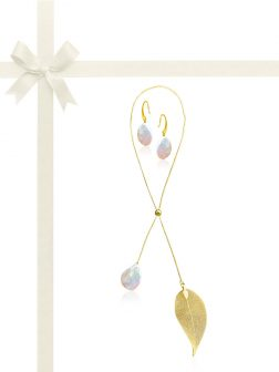 SUNSHINE COAST COLLECTION White Coin Pearl Gift Set in 18K Yellow Gold