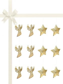 RAINBOW REEF COLLECTION Champagne Mother-of-Pearl Luxury Christmas Décor Gift Set of 12
