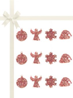 RAINBOW REEF COLLECTION Pink Abalone Luxury Christmas Décor Gift Set of 12