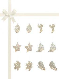 RAINBOW REEF COLLECTION White Mother-of-Pearl Luxury Gift Set of 12 Christmas Decorations