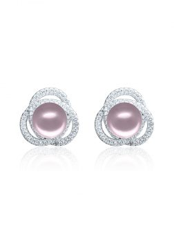 ROSE ATOLL COLLECTION Harmony Diamond Encrusted Blush Pearl Earrings