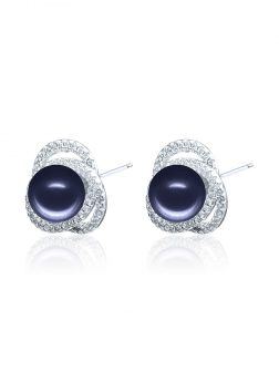 ROSE ATOLL COLLECTION Harmony Diamond Encrusted Midnight Pearl Earrings