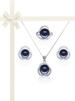 ROSE ATOLL COLLECTION Harmony Diamond Encrusted Midnight Pearl Jewelry Gift Set