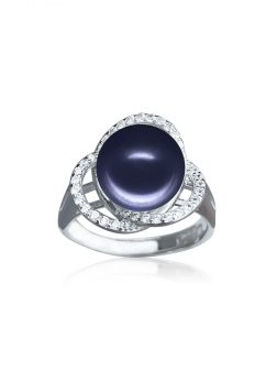ROSE ATOLL COLLECTION Harmony Diamond Encrusted Midnight Pearl Ring