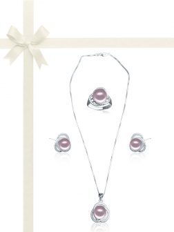 ROSE ATOLL COLLECTION Harmony Diamond Encrusted Pink Pearl Jewelry Gift Set