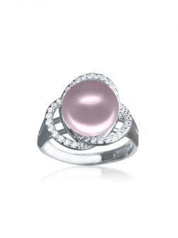ROSE ATOLL COLLECTION Harmony Diamond Encrusted Pink Pearl Ring