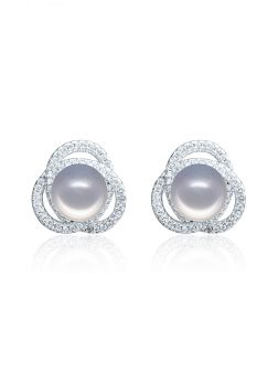 ROSE ATOLL COLLECTION Harmony Diamond Encrusted Silver Pearl Earrings