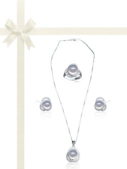 ROSE ATOLL COLLECTION Harmony Diamond Encrusted Silver Pearl Jewelry Gift Set
