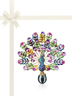 TERAINA COVE COLLECTION Paradise Peacock Black Pearl Brooch & Pendant Gift Set