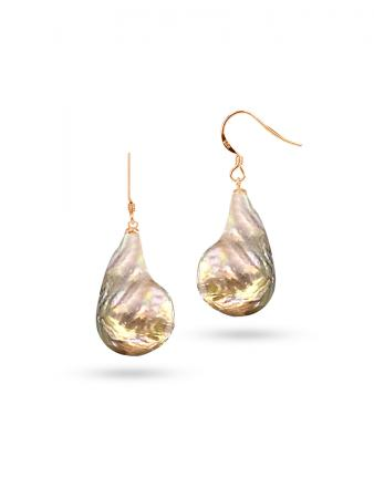 PACIFIC PEARLS POLYNESIA COLLECTION Pink Champagne 20mm Giant Baroque Pearl Earrings on 18K Rose Gold