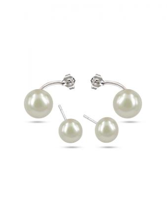 PACIFIC PEARLS PALLISER LAGOON COLLECTION White Double Stud Pearl Earrings