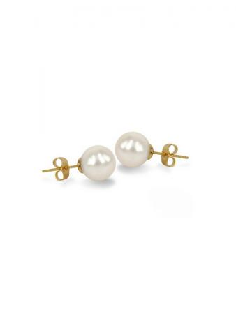PACIFIC PEARLS MARIA-THERESA REEF COLLECTION White 9mm Round Pearl Stud Earrings on 14K Yellow Gold Filled Posts