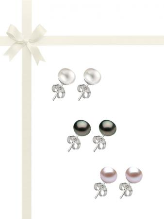 PACIFIC PEARLS BORA BORA COLLECTION Three-Piece 10-11mm Pearl Stud Earring Gift Set