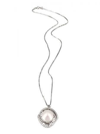 PACIFIC PEARLS ROYAL FALLS COLLECTION Diamond Encrusted Stairway to Heaven Pearl Pendant