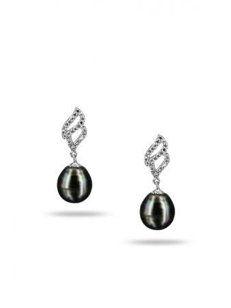PACIFIC PEARLS TAHITIAN COLLECTION Candlelight 11-12mm Tahitian Baroque Pearl Earrings