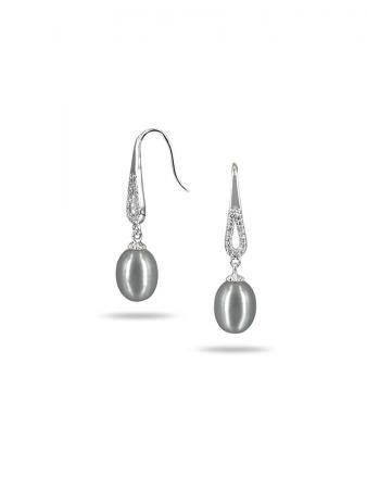 PACIFIC PEARLS TERAINA COVE COLLECTION Silver-Gray Diamond Drop Pearl Earrings