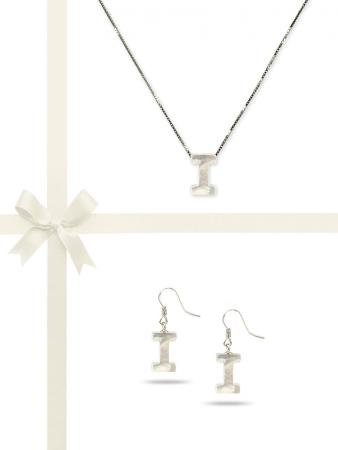"""PACIFIC PEARLS OYSTER BAY COLLECTION Letter """"I"""" Mother-of-Pearl Pendant & Earring Gift Set"""