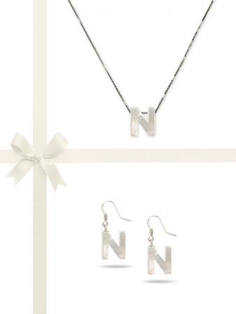 """PACIFIC PEARLS OYSTER BAY COLLECTION Letter """"N"""" Mother-of-Pearl Pendant & Earring Gift Set"""