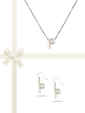 """PACIFIC PEARLS OYSTER BAY COLLECTION Letter """"P"""" Mother-of-Pearl Pendant & Earring Gift Set"""