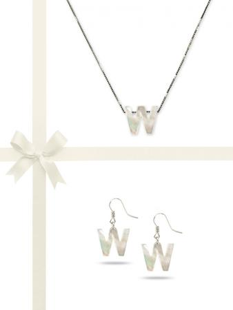 """PACIFIC PEARLS OYSTER BAY COLLECTION Letter """"W"""" Mother-of-Pearl Pendant & Earring Gift Set"""