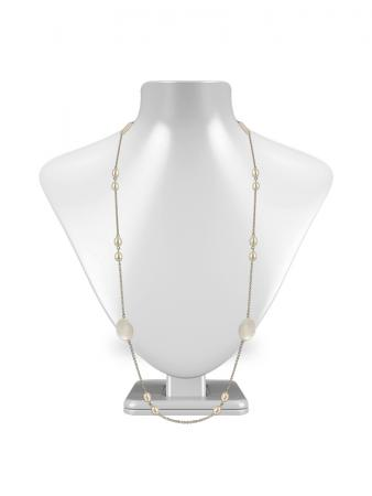 PACIFIC PEARLS KIRIBATI COLLECTION 18K White Gold Filled White Pearl & Mother-of-Pearl Opera Necklace
