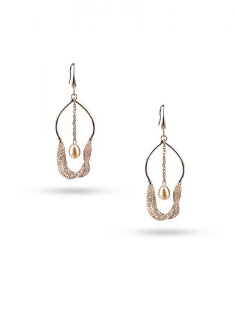 PACIFIC PEARLS ROSE ATOLL COLLECTION 18K Rose Gold Filled Pearl & Swarovski Earrings
