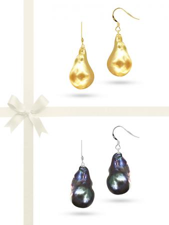 POLYNESIA COLLECTION 20mm Giant Baroque Black & Gold Pearl Earring Gift Set A